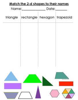 2-d Shape Matching Worksheet