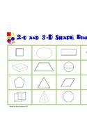2-d and 3-d Shape Bingo