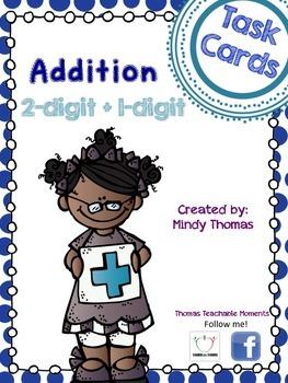 Addition Task Cards 2 digit plus 1 digit