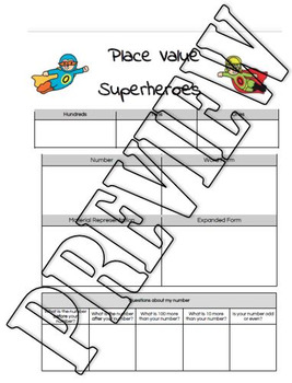 2 digit 3 digit 4 digit place value superheroes make name record