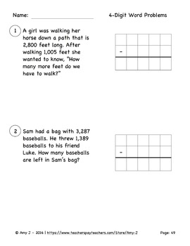 2-digit, 3-digit and 4-digit Subtraction With and Without Regrouping