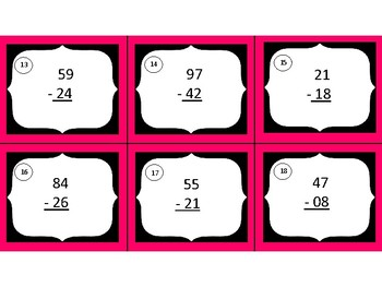 2-digit Addition & Subtraction Task Cards (24 cards, answer key, recording pg)