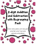2 digit Addition Subtraction regrouping activity pack w/ anchor charts posters
