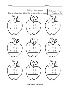 2 digit addition subtraction with and without regrouping apple theme. Black Bedroom Furniture Sets. Home Design Ideas