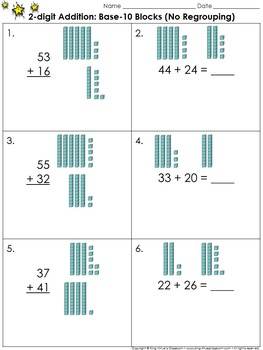 2 digit addition use base 10 blocks no regrouping