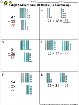 2-digit Addition: Use Base-10 Blocks (No Regrouping) Practice Sheets King Virtue