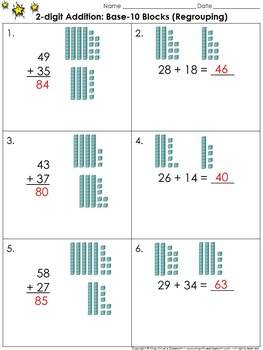 2-digit Addition: Use Base-10 Blocks (Regrouping) Practice Sheets - King Virtue