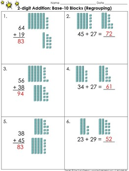 2-digit Addition: Use Base-10 Blocks (Regrouping) Practice