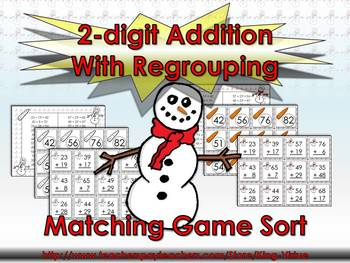 2-digit Addition With Regrouping Matching Game Sort - Winter Snowman