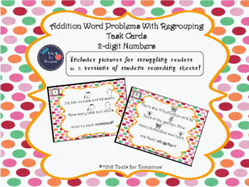 2-digit Addition With Regrouping Task Cards