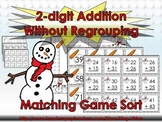2-digit Addition Without Regrouping Matching Game Sort - Winter Snowman