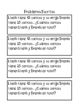 2 digit addition word problems spanish by bilingual heroes tpt. Black Bedroom Furniture Sets. Home Design Ideas