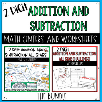 2 digit Addition and Subtraction Activities and Worksheets Bundle