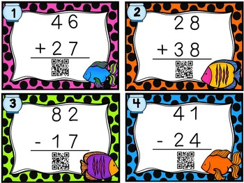 2-digit Addition and Subtraction Cards with and without Regrouping Task Cards