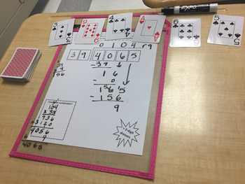 2-digit Divisor Division with Playing Cards--EASY CENTER