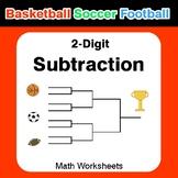 2-digit Subtraction - Basketball Math, Soccer Math, Football Math