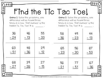 2-digit Subtraction No Regrouping: Find the Tic Tac Toe