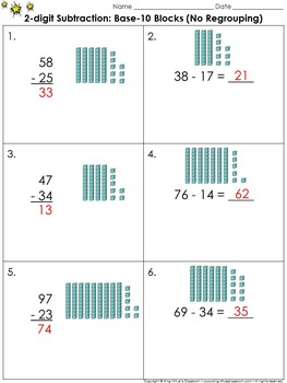 Subtraction Regrouping Base Ten Blocks Worksheets Teaching