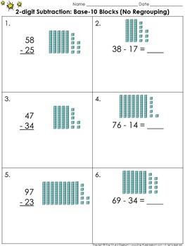 2-digit Subtraction: Use Base-10 Blocks (No Regrouping) Practice Sheets