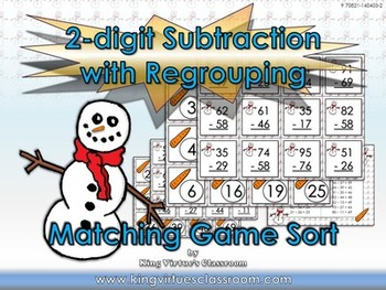 2-digit Subtraction With Regrouping Matching Game Sort - W