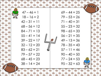 2-digit Subtraction Without Regrouping Matching Game Sort - Football