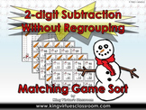 2-digit Subtraction Without Regrouping Matching Game Sort - Winter Snowman