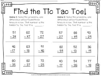 2-digit Subtraction with Regrouping: Find the Tic Tac Toe