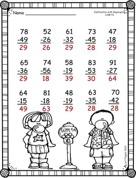 2 digit Subtraction with Regrouping Printables
