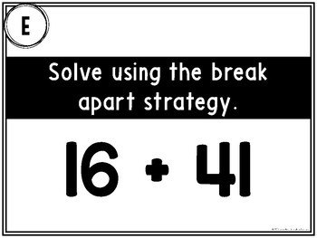 2 digit + Teen Numbers Addition {Break Apart/Place Value Strategy}