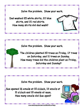 2-digit Word Problems for Math Centers - Common Core