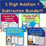 Two Digit Addition and Subtraction Bundle With and Without Regrouping