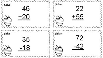 2 digit addition and subtraction task cards (with and w/o regrouping)