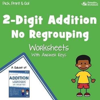 2-Digit Addition No Regrouping Worksheets, Adding Two Digit Numbers