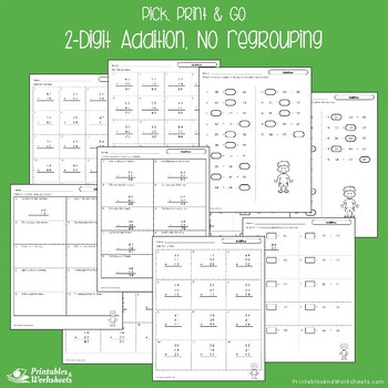 2 Digit Addition No Regrouping Worksheets Adding Doubles