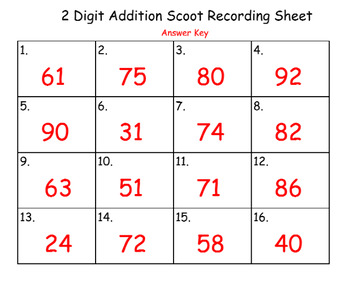 2 digit addition scoot with regrouping