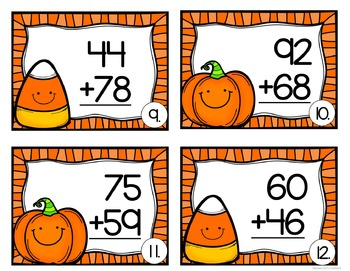 2 digit addition task cards (Halloween Theme)