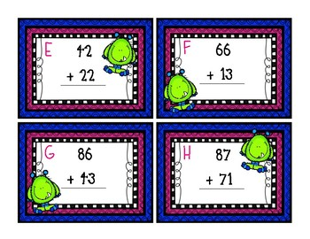 2 digit addition (w/o regrouping) task cards