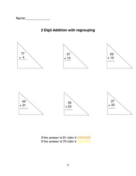 2 digit addition with regrouping