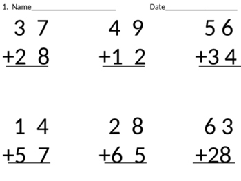2-digit addition with regrouping cut & paste