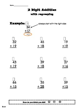 2 digit addition with regrouping worksheet