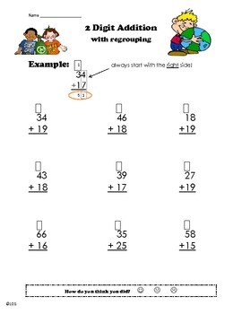 2 digit addition with regrouping worksheet- Earth Day!