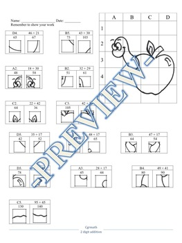2-digit and 3-digit addition puzzle activity worksheets