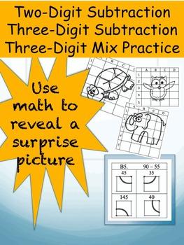 2-digit and 3-digit subtraction activity worksheets (3 worksheets)