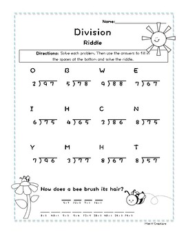 2 digit by 1 digit division with remainders spring riddle worksheet. Black Bedroom Furniture Sets. Home Design Ideas