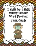 2 digit by 1 digit multiplication word problem task cards