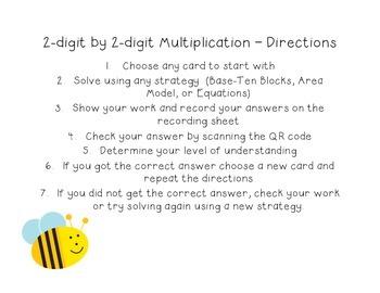 4.NBT.5 - 2-digit by 2-digit Multiplication QR Code Task Cards