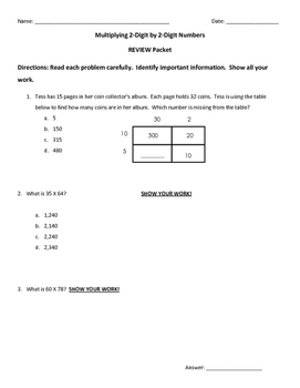 2 digit by 2 digit Multiplication Review Packet
