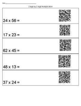 2 digit by 2 digit Multiplication with Instructional Videos by QR