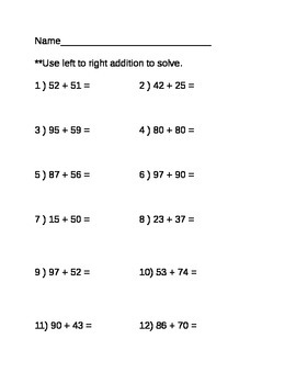 2 digit by 2 digit left to right addition (with regrouping) worksheet