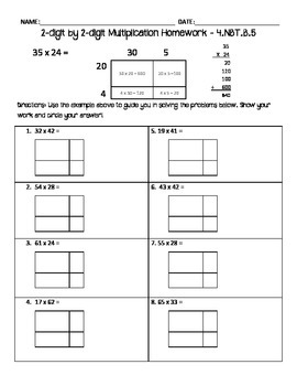 2 Digit By 2 Digit Multiplication Homework Area Model By Sydney Hebert